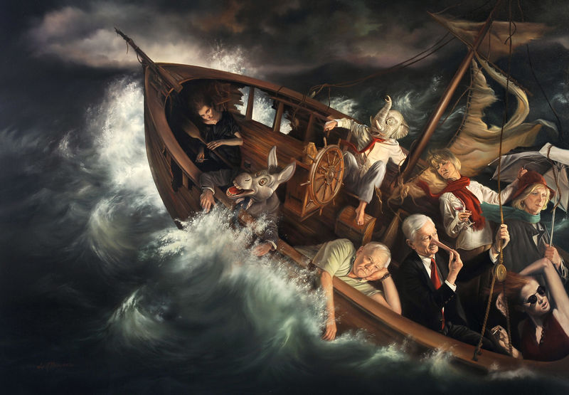 _The Ship of Fools_ oil on linen 24_x34_ by David Bowers