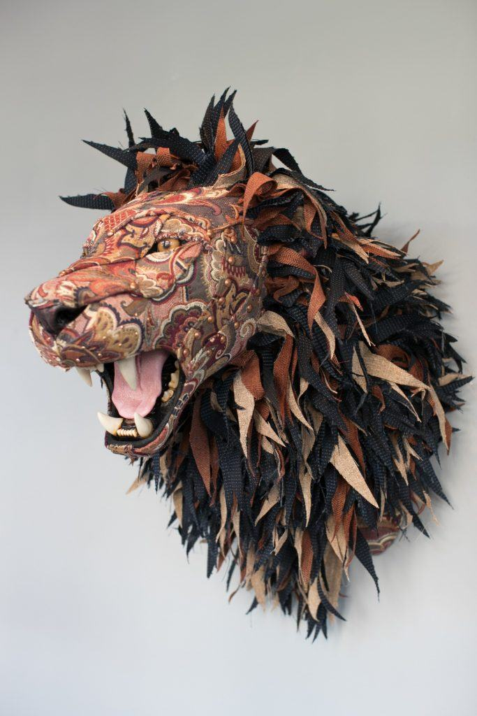_Americana Lion_ mixed media sculpture 23_x19_x20_ by Kelly Jelinek- Represented by Robert Lange Studios