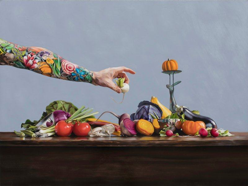 _Arm to Table_ oil on panel 30_x40_ by Robert Lange- Represented by Robert Lange Studios