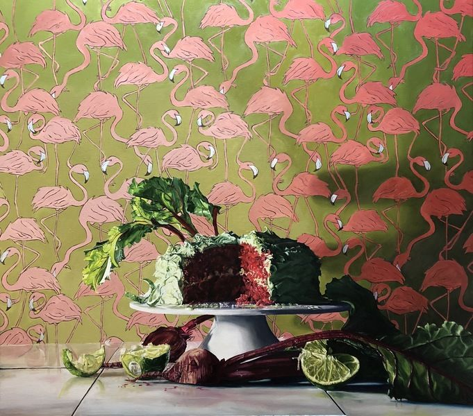 _Natural Red Velvet Beet Cake_ oil on linen panel 36_x40_ by Denise Sanabria- Represented by Mitchell Hill Gallery