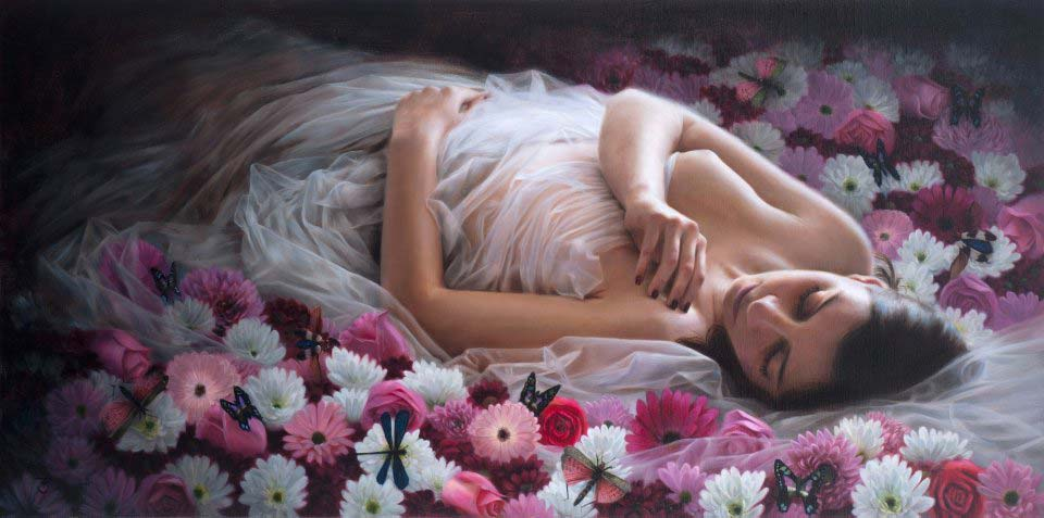 _Awakening_ oil on linen 18_x36_ by Tina Spratt- Represented by Robert Lange Studios