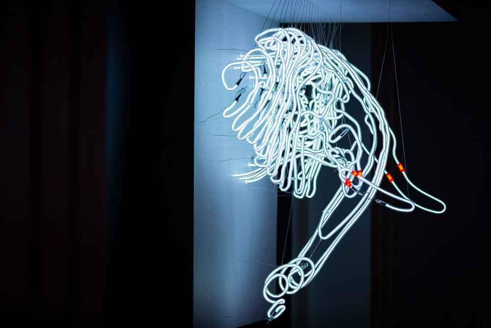 _Damaged Spirit of the African Elephant_ neon tubes sculpture 30_x30_21_ by Craig Kraft.jpg